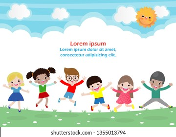Kids jumping on the park, children jump with joy, happy cartoon child playing on the playground, isolated background Template for advertising brochure,your text Vector Illustration