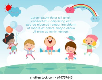 Kids jumping on the playground, children jump with joy, happy cartoon child playing on background, Template for advertising brochure,your text , Kids and frame,child and frame,Vector Illustration