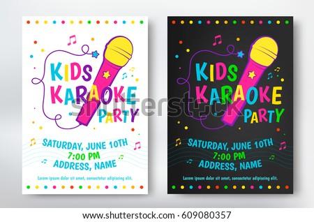 Kids Karaoke Party Poster Flyer Design Stock Vector (Royalty Free) 609080357 ...  Karaoke