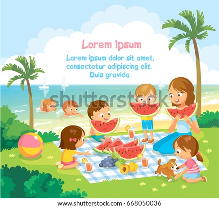 kids at the kinder garden eating watermelon and fruits summer picnic by the beach - Kinder Garden