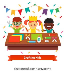 Kids kindergarten crafts. Happy and creative children crafting decorations at the table from color paper with scissors, crayons and glue. Flat vector cartoon illustration isolated on white background.