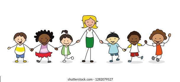 kids in kindergarten,  group of children with female teacher holding hands