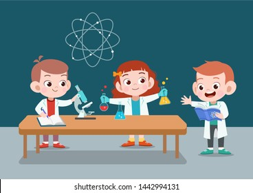 kids laboratory school activity vector illustration