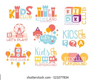 Kids Land Playground And Entertainment Club Set Of Bright Color Promo Signs For The Playing Space For Children