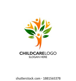 Kids and leafs for childcare and education logo design template