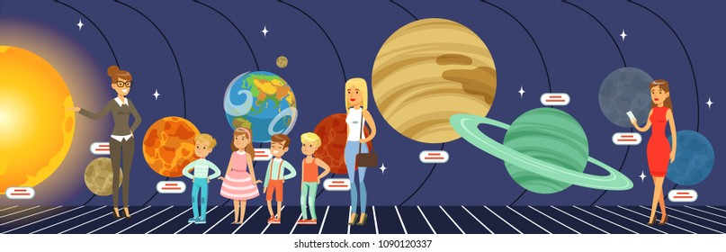 Kids learning about the stars, planets and the solar system at the planetarium vector Illustration in flat style