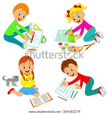 Kids Learning Activityboys Girls Drawwrite Readillustrationvector