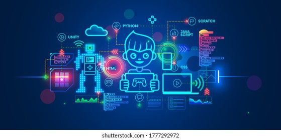Kids learning to coding, programming in online IT school. Engineering courses in internet for talented children. Boy studying game development, robotics technology, creations program code on computer