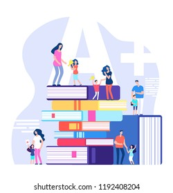Kids learning concept. Excellent pupils, praising parents and teachers with huge books. Children school education vector illustration. Children with reward cup or medal school