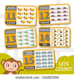 Kids learning material. Card for learning numbers. Number 11-15. Cartoon transport.