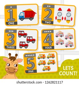 Kids learning material. Card for learning numbers. Number 1-5. Cartoon transport.