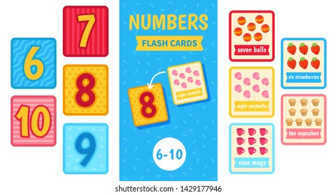 Kids learning material. Card for learning numbers. Number 6-10.