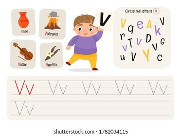 Kids learning material. Worksheet for learning alphabet. Letter V.