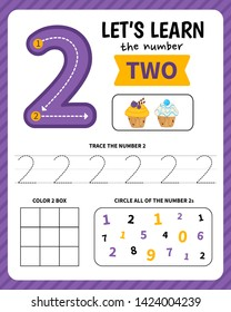 Kids learning material. Worksheet for learning numbers. Number 2.