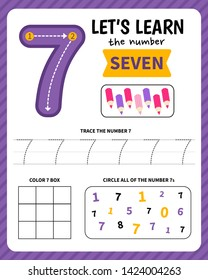 Kids learning material. Worksheet for learning numbers. Number 7.