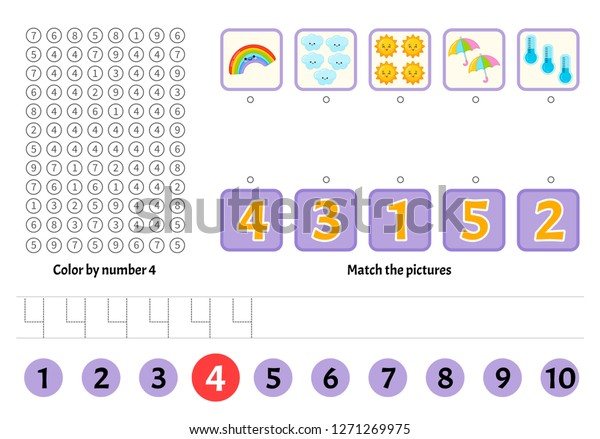 Kids Learning Material Worksheet Learning Numbers Stock ...