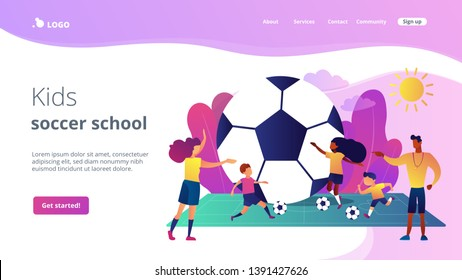 Kids learning to play soccer with balls on the field in summer camp, tiny people. Soccer camp, football academy, kids soccer school concept. Website homepage landing web page template.