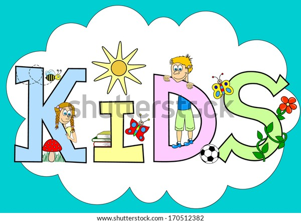 Kids letters decorated funny