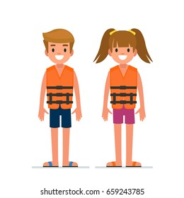 Kids in life vest.  Flat style vector illustration isolated on white background.