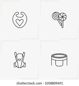 Kids line icon set with baby overalls, trampoline and baby bib