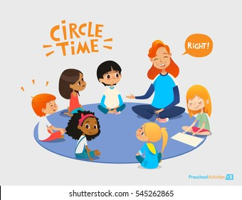 Kids listen and talk to friendly preschool teacher during educational activity in kindergarten. Learning through play and entertainment concept. Vector illustration for advertisement, banner, website