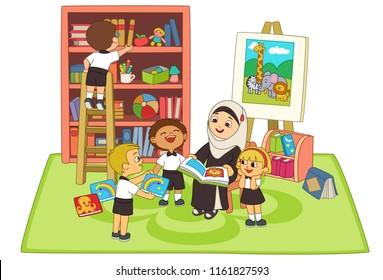 Kids listening story by teacher in classroom