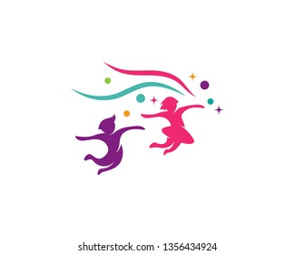 Kids logo concept vector template