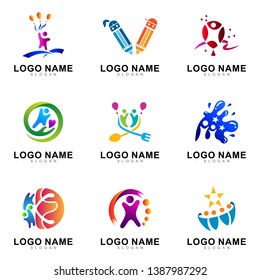 kids logo design collection in multicolored pictorial style