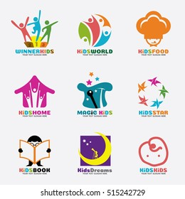 Kids logo vector creative concept art set design