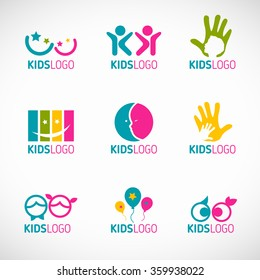 Kids logo vector set design