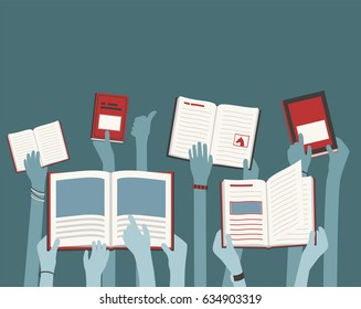 Kids Long Hands Holding and Reading Library Books blue and red, abstract concept, ideal for flyers