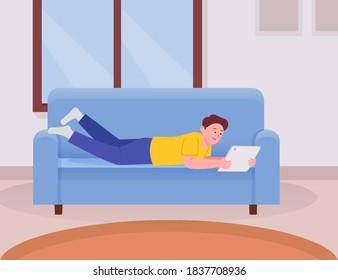 Kids lying in cozy sofa holding tablet cartoon flat illustration