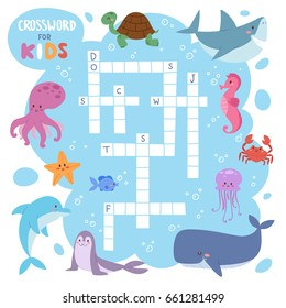 Kids magazine book puzzle game of sea underwater ocean fish and animals logical crossword worksheet colorful printable vector Illustration.