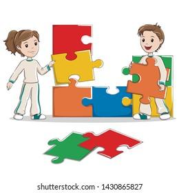 Kids making a jigsaw. Vector illustration