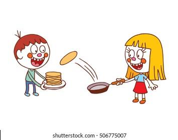 kids making pancakes