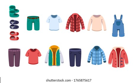 Kids male casual summer, autumn & winter clothes, shoes set. Boy shirts, sweater, shorts, overall, hoodie, jacket, coat & boots. Children Garment fashion & clothing flat vector illustration collection