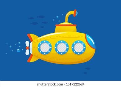 Kids marine vector flat design illustration. Photo template for kids. Cute design for children.