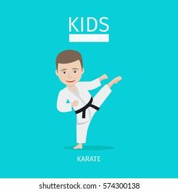 Kids martial art vector illustration. Karate boy on blue background
