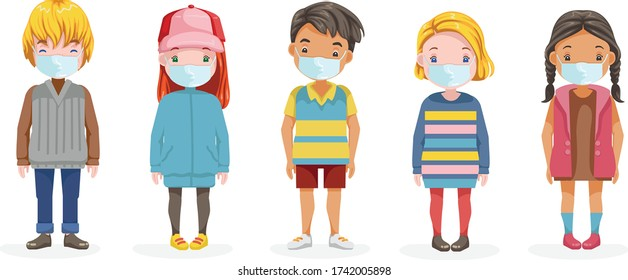 Kids mask full body set. Little boy and little girl wear face mask protect virus.  Protect dust PM 2.5. Social distancing concept. Vector cartoon characters and illustrations isolated on white.
