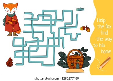 Kids maze. Children labyrinth. Help the fox find the way to his home. Vector file in cartoon style.