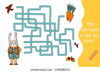 Kids maze. Children labyrinth. Help the bunny find the carrot. Vector file in cartoon style.
