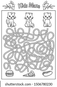 Kids maze coloring page. Children labyrinth kids game with cute cats. Activity page. Find the right path. Funny riddle. Education worksheet. Vector illustration