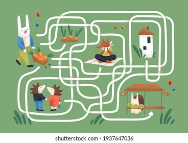 Kids maze game with cute animals in nature. Childish labyrinth puzzle with paths. Logical quest for children's learning and entertainment. Colored flat vector illustration of map with roads