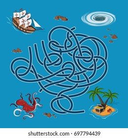 Kids maze. Labyrinth treasure hunters. Help the ship find the way to the island. Vector illustration