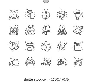 Kids Meals Well-crafted Pixel Perfect Vector Thin Line Icons 30 2x Grid for Web Graphics and Apps. Simple Minimal Pictogram