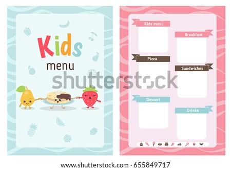kids menu card cartoon food and stock vector royalty free