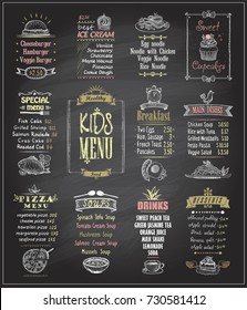 Kids menu chalkboard designs set. Ice cream, desserts, soups, breakfast, pizza menu, main dishes. Hand drawn vector illustration.