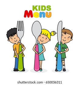 kids menu. Children with knife, spoon and fork