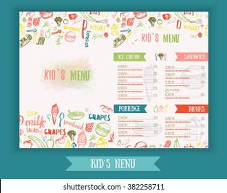 Kids menu Cute colorful hand drawn vector template. Creative menu banner.