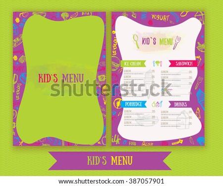 kids menu cute colorful hand drawn stock vector royalty free